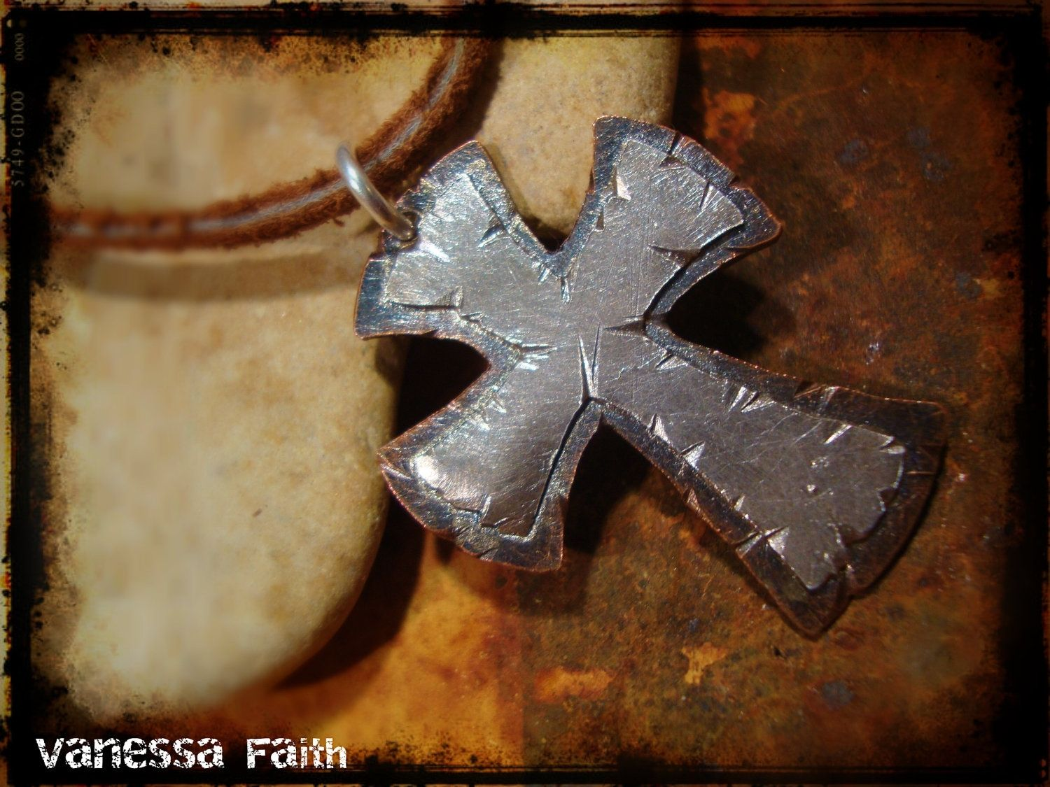 Custom Made Sterling Silver Copper Cross Rustic Necklace