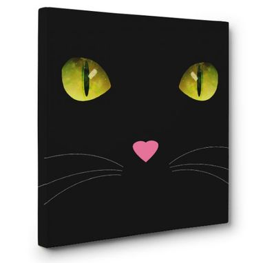 Custom Made Black Cat Canvas Wall Art