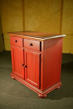 Custom Made New Pine Wood Server With Red Base