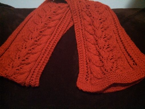Custom Made Red, Thick, Leafy Knitted Scarf