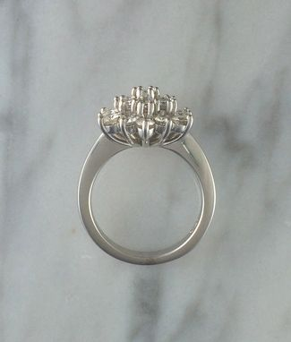 Custom Made Women's Cluster Floral Flower Ring W/ Moissanite Diamonds