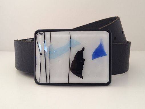 Custom Made Black, Blue And White Confetti Fused Glass Belt Buckle