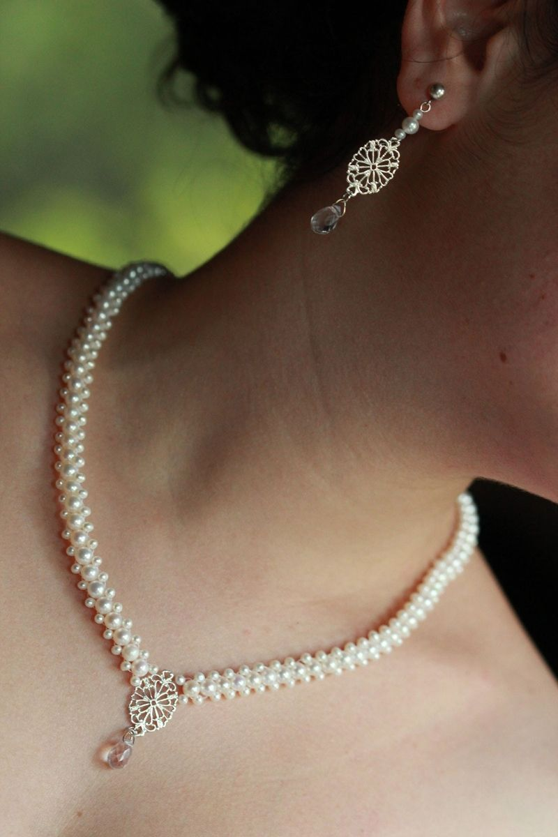Custom Made Hand Woven Filigree And Pearl Necklace With Matching Earrings Perfect For Bridal Jewelery