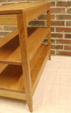 Custom Made Long Cherry Two Shelf Shaker Style Side Table