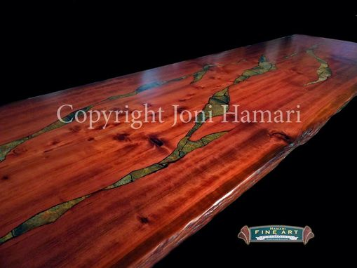 Custom Made Live Edge Wood Slab Giant Sequoia Conference Or Dining Table