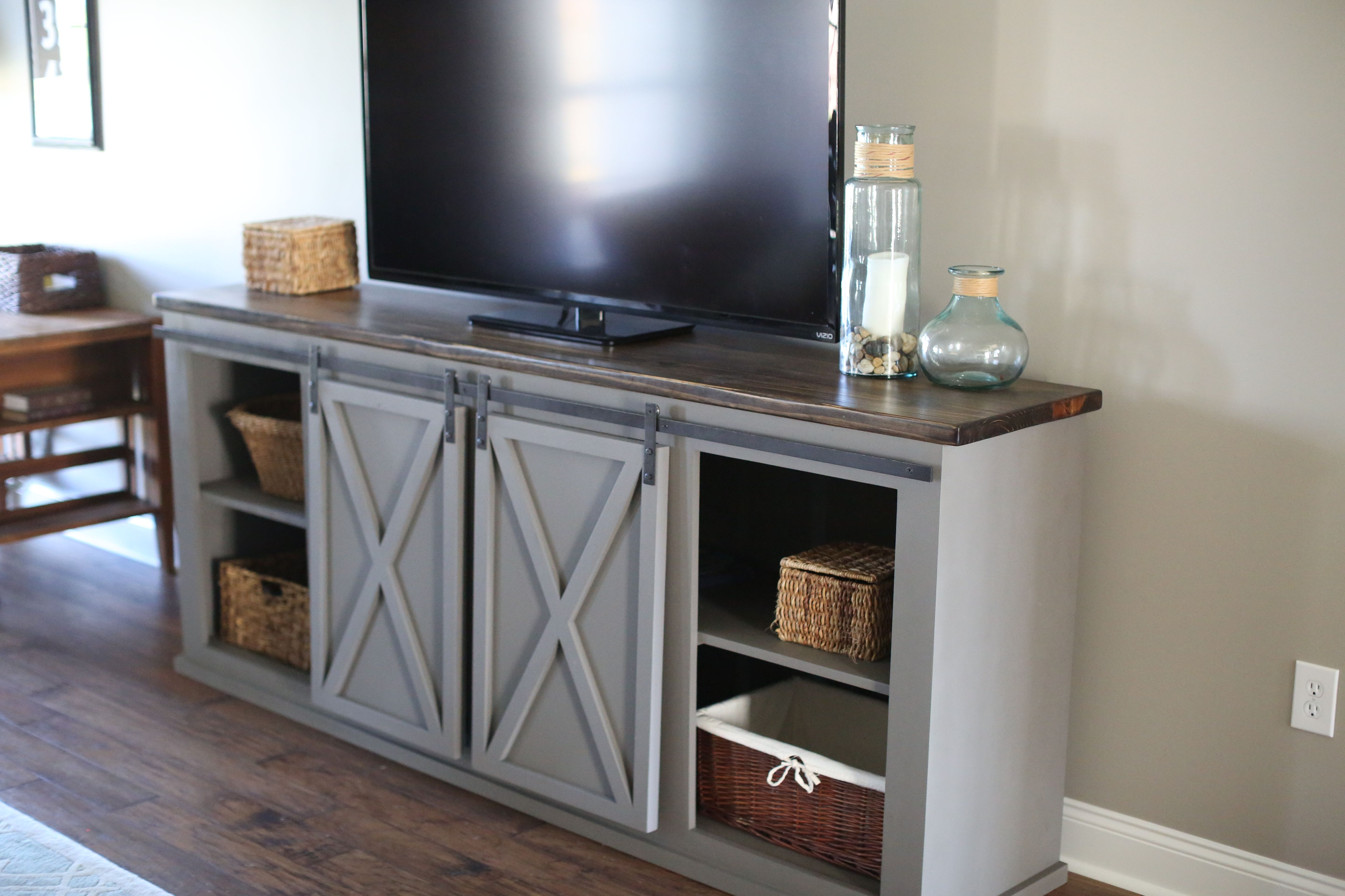 A Custom Made Sliding Barn Door Entertainment Center To Order From Will S Woodworks Custommade Com