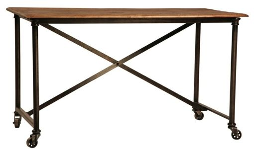 Custom Made Postobello Industrial Metal And Rustic Wood Desk