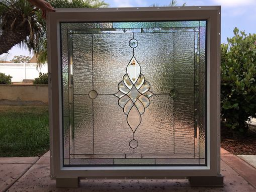 Custom Made Ready To Ship! All Clear Beveled Glass Stained Glass Window #S10