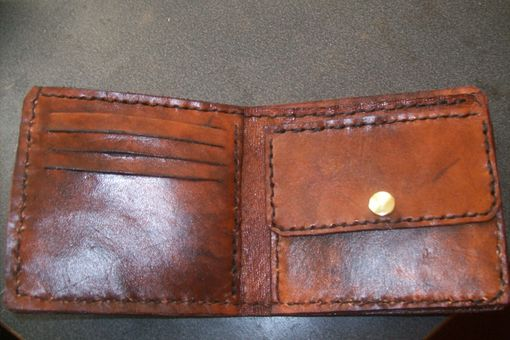 Custom Made Custom Leather Wallet With Custom Interior, Texas Star Design And In Weathered Color