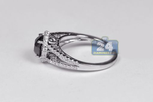 Custom Made 18k White Gold 1.98 Ct Black Diamond Womens Engagement Ring