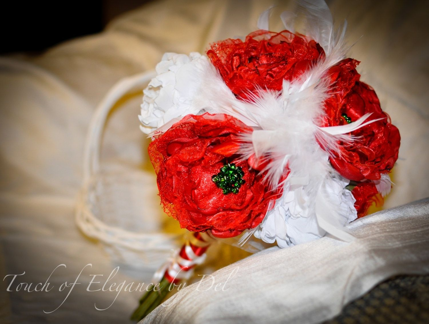 Hand Crafted Passionate Red White Fabric Flower Bridal Bouquet