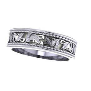 Custom Vintage Style Engraved Leaf Pattern Wedding Bands By Mary G Nolan