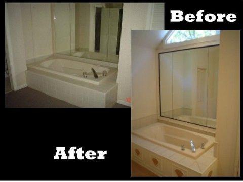 Custom Made Bath Tub Wrap And Frame Mirror By Atlanta