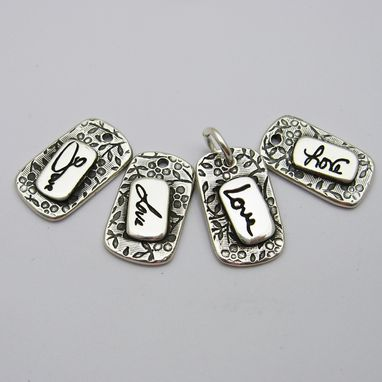 Custom Made Personalized Signature Tiny Silver Tag Charm With Your Actual Handwriting
