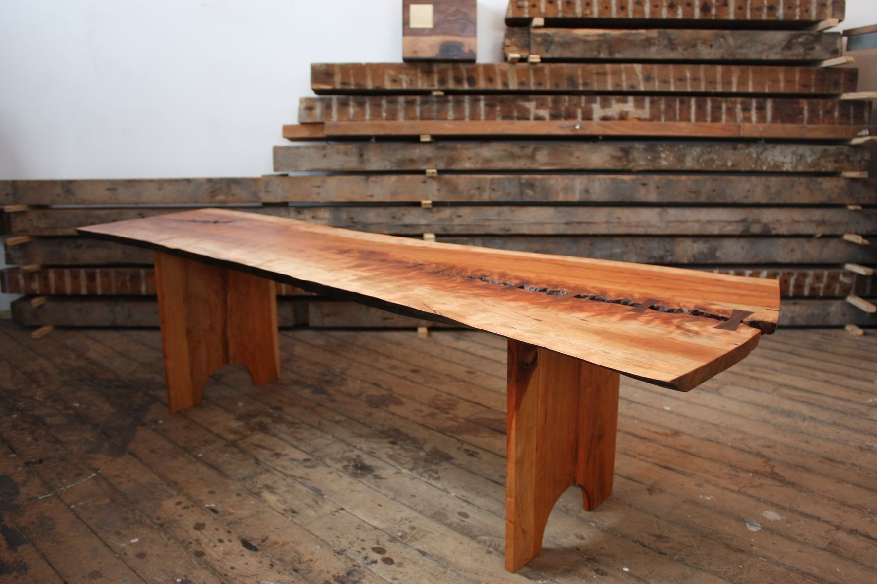 Hand Made Cherry Slab Bench By Pernt Custommade Com
