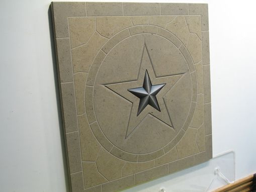 Custom Made Limestone Texas Star Mosaic Etched Tile With Inset Nickle Tone Metal Star