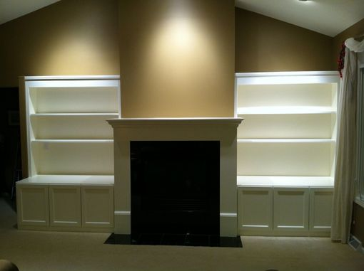 Custom Made Build-In Media Cabinets, Shelving & Fireplace Mantel Surround