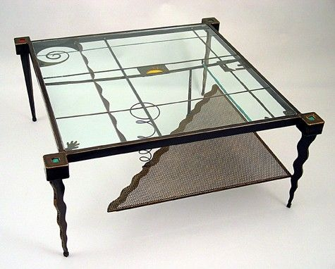 Custom Made Coffee Table :: Contemporary Metal And Glass Square - Sculptural Furniture, Accent Tables For Living Room