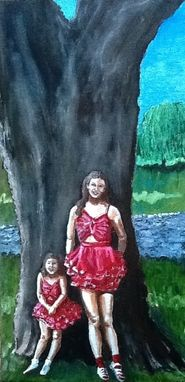 Custom Made Cousins By The Tree 1955 Oil Painting