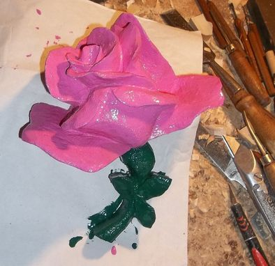Custom Made Sculpted Wooden Rose