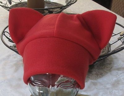 Custom Made Ear Winter Ski Warm Red Fleece Beanie Ear Hat In 6 Sizes