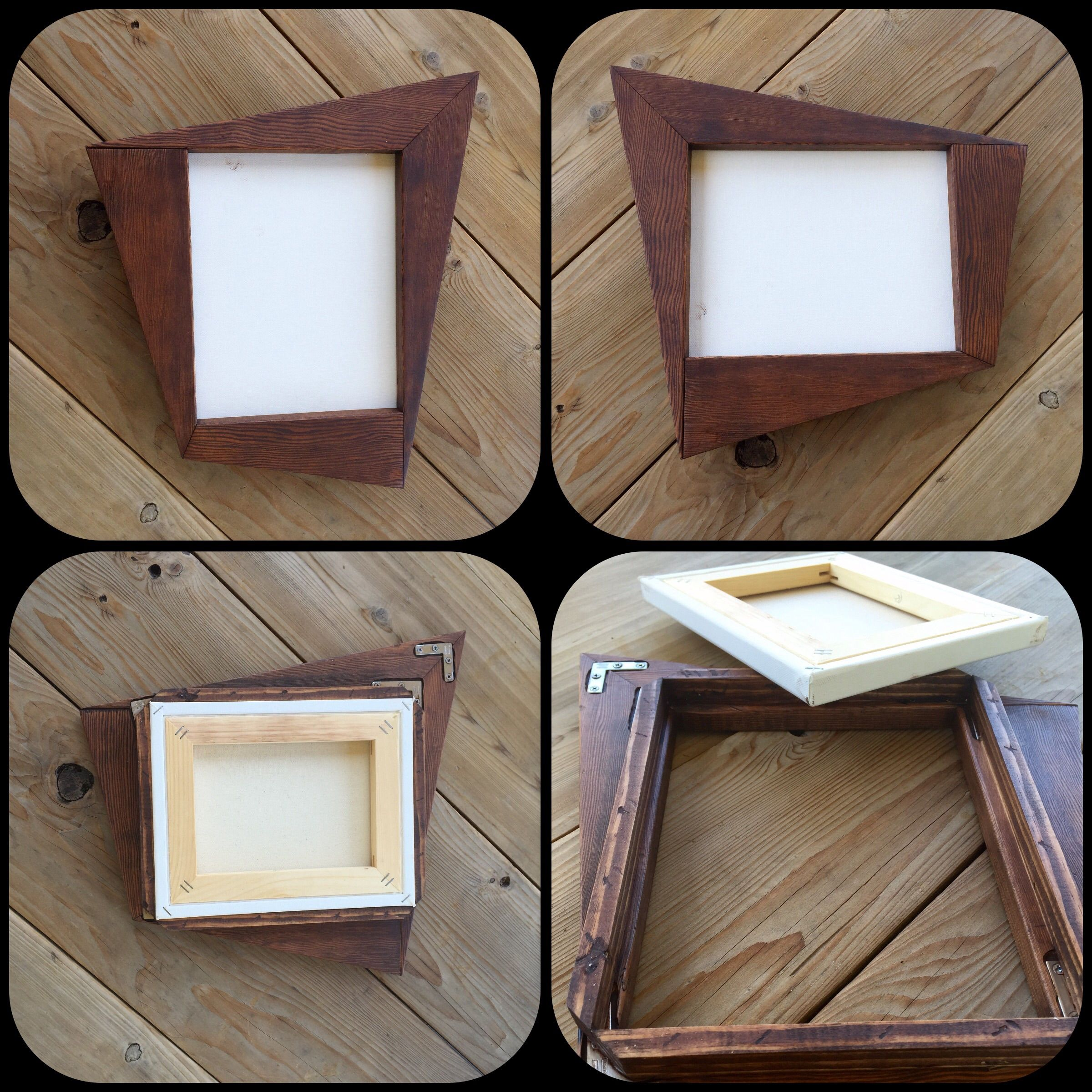 custom made retro style funky wood frame for canvas art or mirror