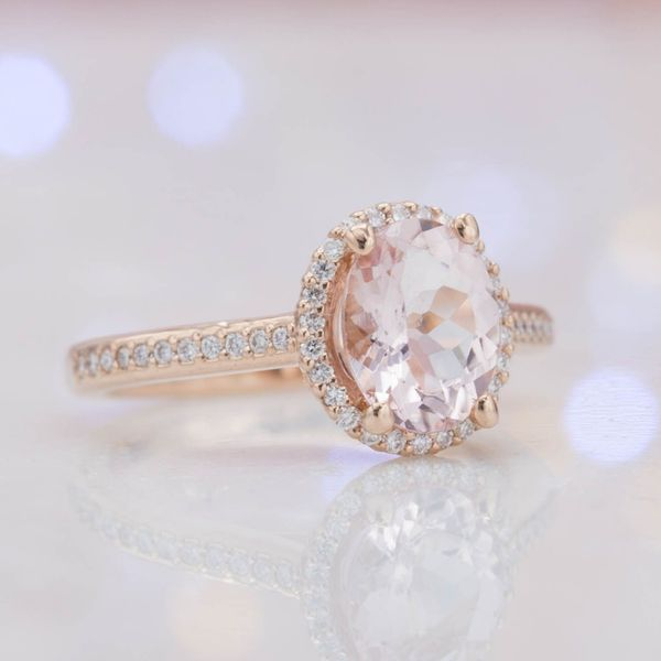 We paired this bright pink morganite with a halo and pave shank of CanadaMark diamonds to ensure an ethically sourced gem selection.