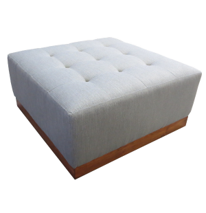 Custom Made Denver Square Buttonless Tufted Guest Room Parlor Ottoman With Plinth Base