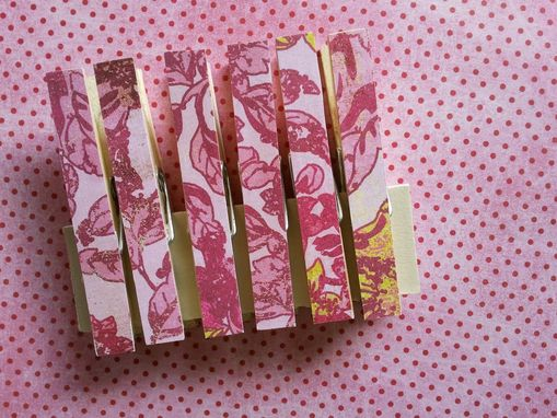 Custom Made Pink Floral Decorated Clips
