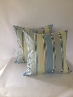 Custom Made Blue And Mint Striped Sateen Pillow Cover
