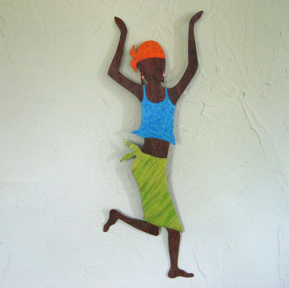 Custom Made Metal Art Wall Sculpture Caribbean Dancer Hanging Reclaimed African Decor