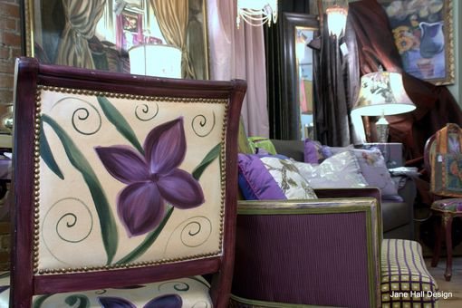 Custom Made Hand Painted And Upholstered Floral Arm Chairs