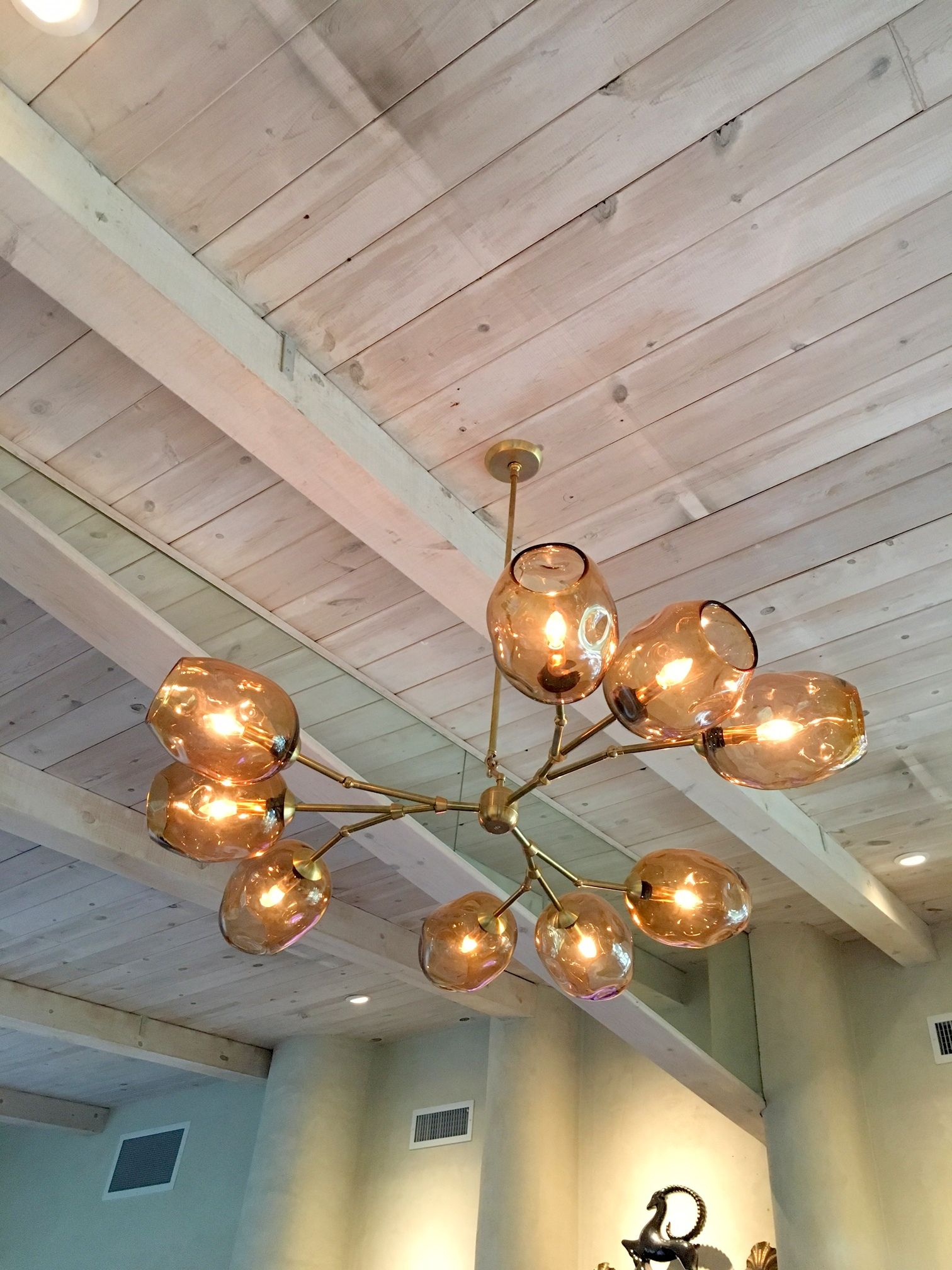 Custom Staccato Branch Globe Chandelier In Light Amber by