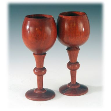 Custom Made Toasting Glasses In Bloodwood (Wedding And 5th Year Anniversary)