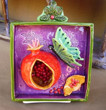 Custom Made Pomegranate Butterfly Ceramic Shadow Box Wall Hanging, Ready To Ship