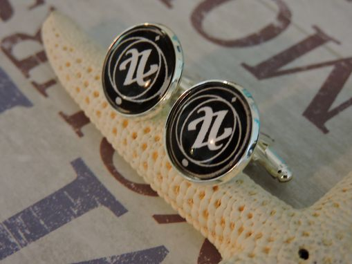 Custom Made Sterling Silver Plated Glass Bezel Dome Cufflinks