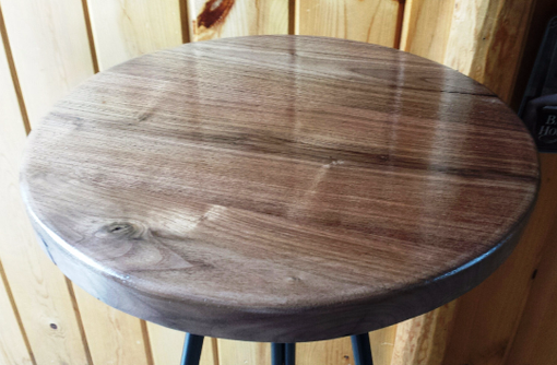 Custom Made Industrial Metal Stool Base With Round Walnut Seat