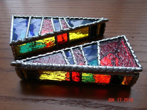 Custom Made Stained Glass Hinged Top Pizza Slice Boxes