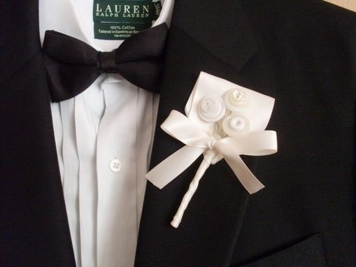 Custom Made White Buttons Wedding Boutonniere