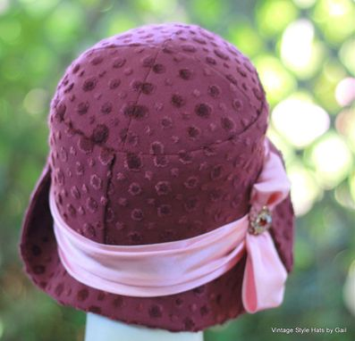 Custom Made Great Gatsby Designer Fabric 1920'S Cloche Hat In Fuchsia And Pink