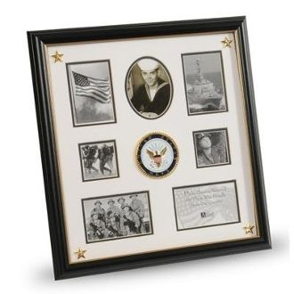 Custom Made U.S. Navy Medallion 7 Picture Collage Frame With Stars