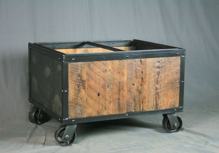 buy a handmade industrial file cart. reclaimed wood & casters
