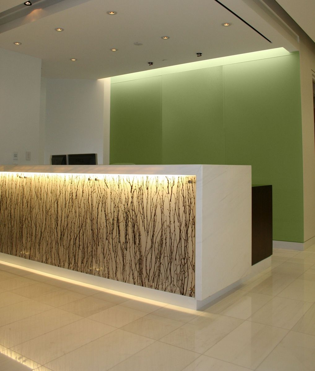 hand made backlit reception desk with absolute white stone. Black Bedroom Furniture Sets. Home Design Ideas