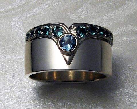 Custom Made Fitted Engagement Ring Set. Blue Topaz, 14k White Gold With Rhodium Finish.