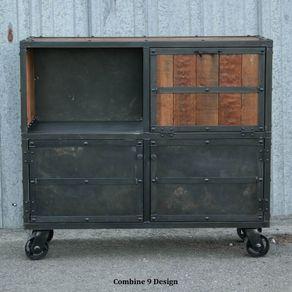 Bar Cart Liquor Cabinet Vintage Urban Modern Design Reclaimed Wood