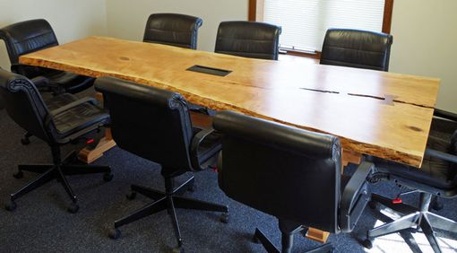 Custom Made Cherry Live Edge Conference Table With Metal And Wood Legs