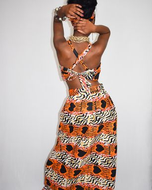 Custom Made African Print Maxi Skirt 2 Piece Set