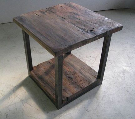 Custom Made Rustic End Table With Steel Base