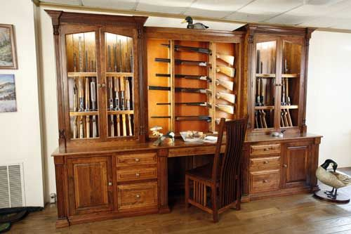 built in gun cabinet crafted amish made custom gun cabinet by the woodloft 12666
