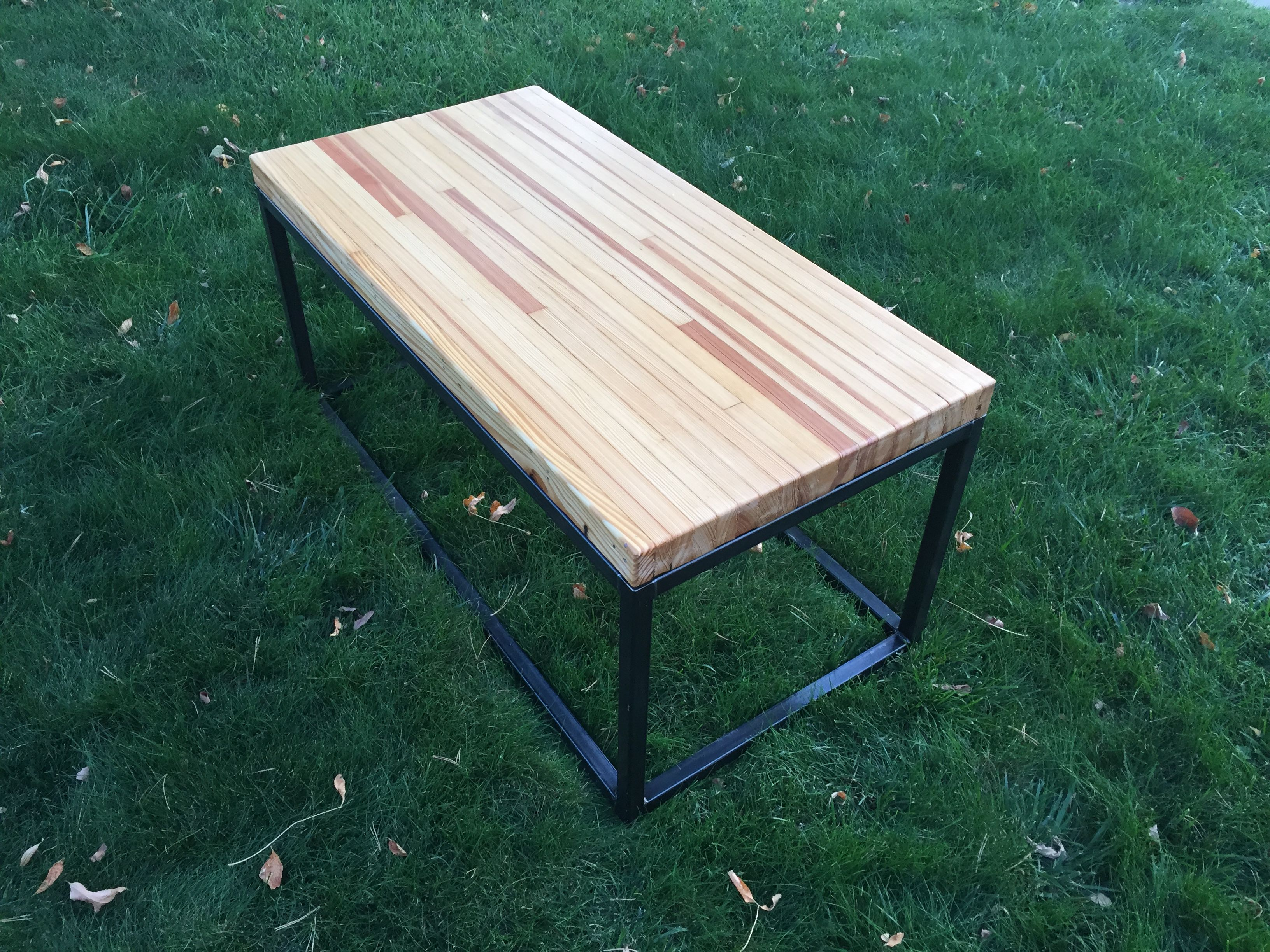 A Hand Crafted Reclaimed Bowling Alley Wood Coffee Table